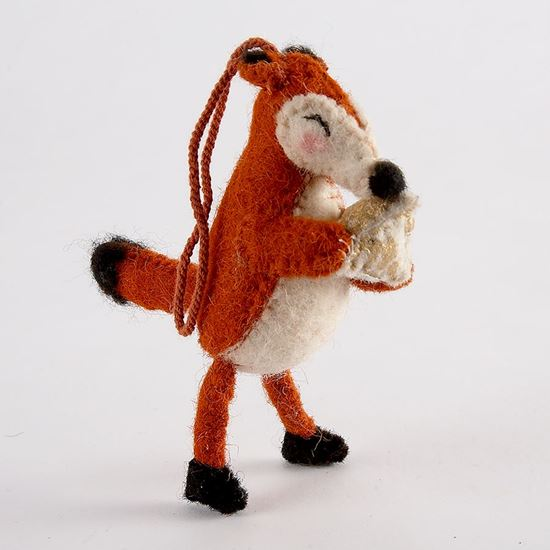 Felt hanging fox Christmas decoration