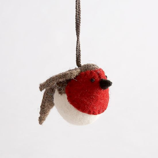 Woodland Trust Shop | Buy felt hanging robin Christmas decoration ...