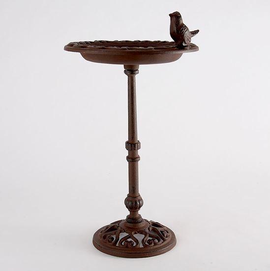 Cast iron bird bath on a pole