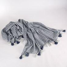 Orchard tassel scarf, blue