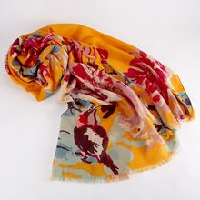 Peony and finch design scarf