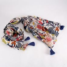 Wildflower design multi tassel scarf