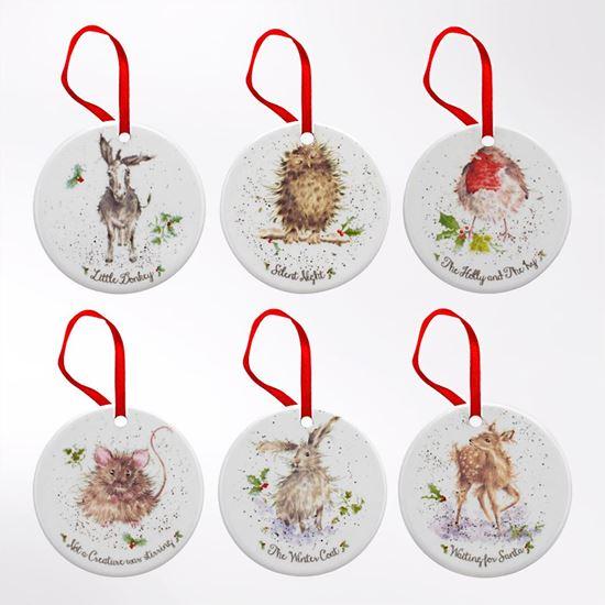 Set of 6 porcelain Christmas decorations