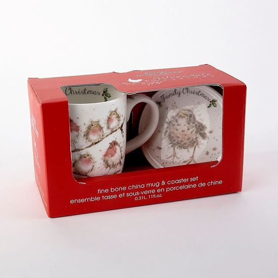 Wrendale Designs Family Christmas Mug and Ceramic Coaster Set