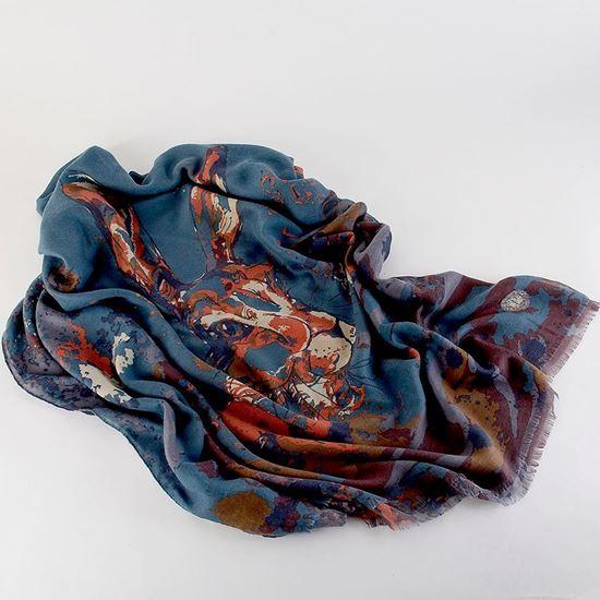 Watercolour hare scarf