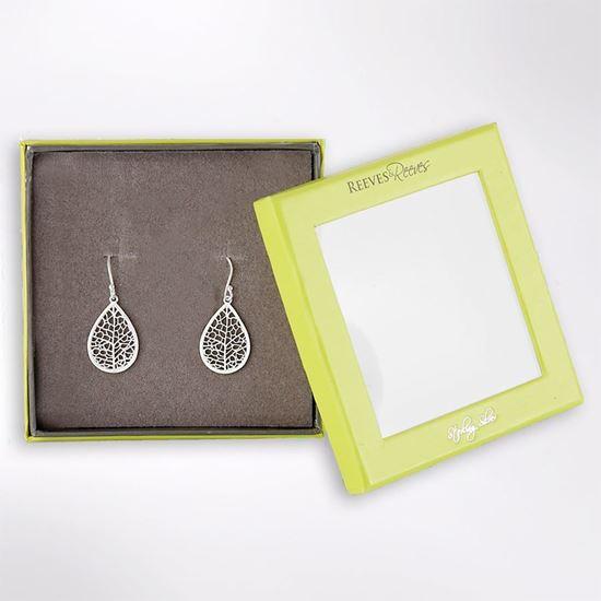 Picture of Skeleton leaf sterling silver earrings