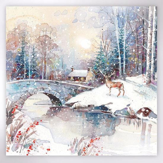 Christmas Cards Images.Stag Winter Scene Christmas Cards