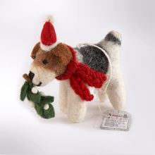 Picture of Fox terrier with mistletoe sprig