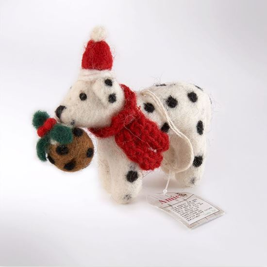 Picture of Dalmatian with Christmas pudding