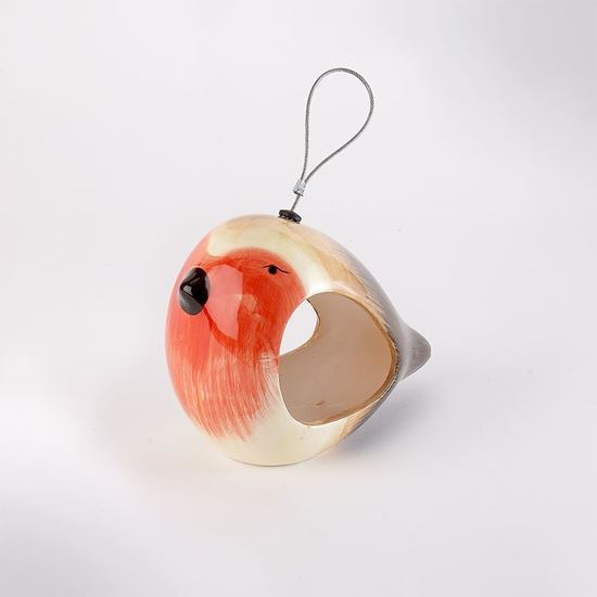 Picture of Ceramic robin bird feeder