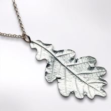 Textured pewter oak leaf necklace.  Handmade in the UK.