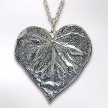 Pewter heart leaf necklace. Handmade in the UK.