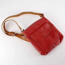 Raspberry leather cross-body bag with floral lining