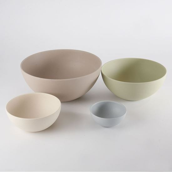 Bamboo serving bowls made from bamboo, corn and reinforced with melamine resin