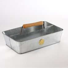 Sophie Conran galvanised trug with two compartments and beech handle
