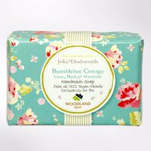 Bumblebee Cottage soap with a fresh scent of lime, basil and mandarin.