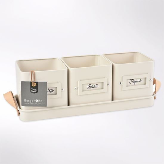 White trio herb tins made from strong galvanised steel