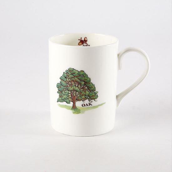White mug with oak tree picture and oak tree description