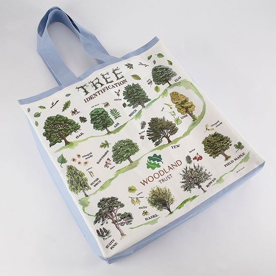 Woodland Trust organic cotton tree ID bag with blue shoulder length cotton handles