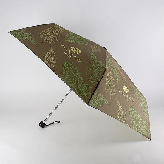 Woodland Trust compact foldable umbrella in a  fern design is made from sustainable fabric