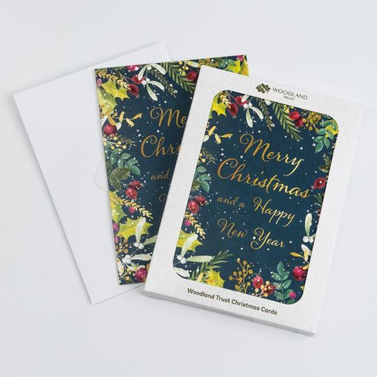 Christmas foliage design pack of eight Christmas cards