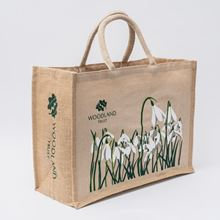 Snowdrops on a juco and jute shopper bag
