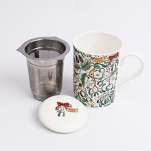 Mistletoe design bone china mug with lid and stainless steel infuser