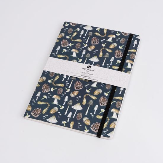Woodland Trust A5 notebook mushrooms design with elasticated belly band