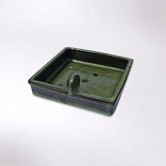 Green ceramic Woodland Trust hedgehog feeding bowl