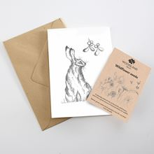 Woodland Trust Hare and Mistletoe card with wildflower seed packet